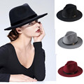 New Fashion Wool Women's Black Maison Michel Fedora Hat For Laday Woolen Wide Brim Jazz Church Cap Vintage Panama Sun Top Hat 20