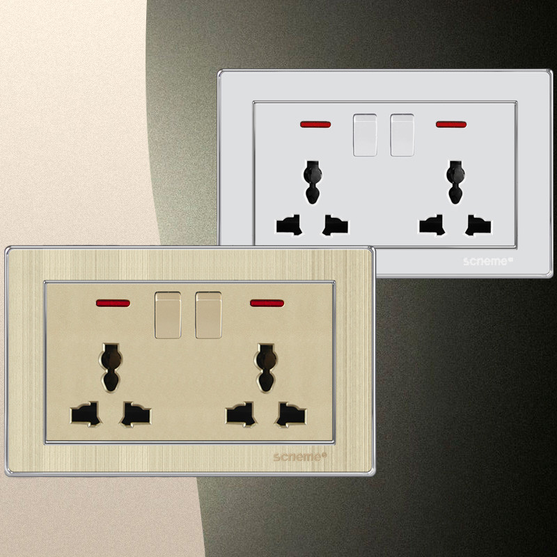 6 Pin Double universal Plug wall socket and ON/OFF Switch electrical outlet 13A, With red indicator light