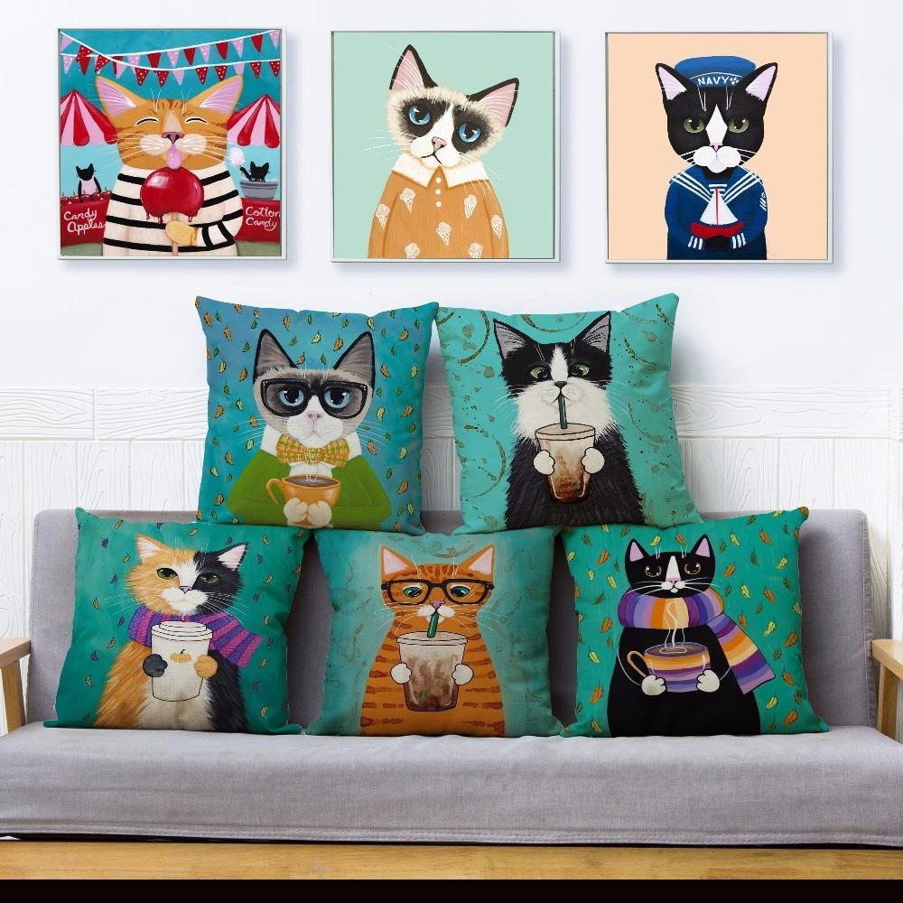 Ryan Conners Cute Ride Bike Cat Print Pillow Cover 45*45 Cushion Cover Linen Throw Pillows Cases Sofa Home Decor Cushion Covers