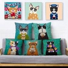 Funda de cojín con estampado de gato de Ryan Conners, bonita funda de cojín 45x45, funda de cojín de lino, funda de cojín Fundas de almohadas para decoración del sofá y el hogar