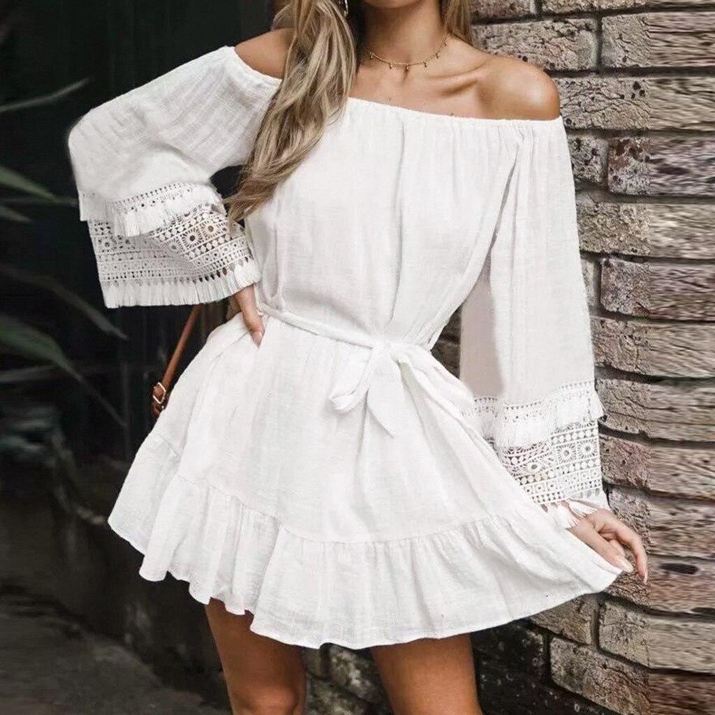 Womail Slash Neck Solid Color Simple Linen Material Cute Hot Sale Hollow Out Design Patchwork Beach Dress Women 19APR03