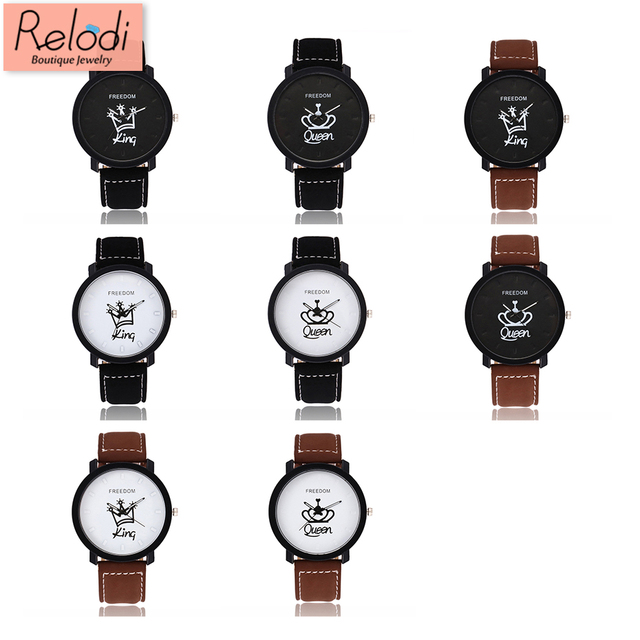 Relodi New Arrival King & Queen Couple Watches Leather Quartz Wristwatches Fashi