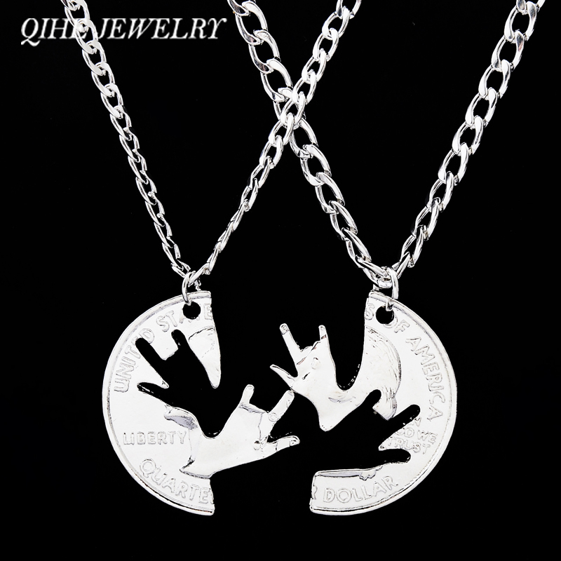 QIHE JEWELRY I love You Hands Sign Interlocking Puzzle Necklaces Men Women Best Friend Couples Lover Pendant Necklace For Lover