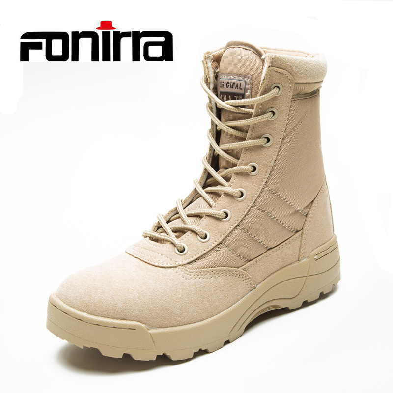 FONIRRA Fashion Ankle Men Boots Men Work Outdoor Climbing Shoes High Top Casual Shoes Army Boots Bige Size 37-46 For Men 729 men ankle boots women casual shoes breathable fashion cushioning soles high top lovers outdoor shoes size 35 44 b2299