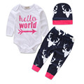Bebê recém-nascido Meninas Menina Tops Romper + Calças Compridas + Chapéu Conjunto de roupas Roupas de Bebê Primavera Bebê Meninos Conjuntos de Roupas de Bebê para 1-2A