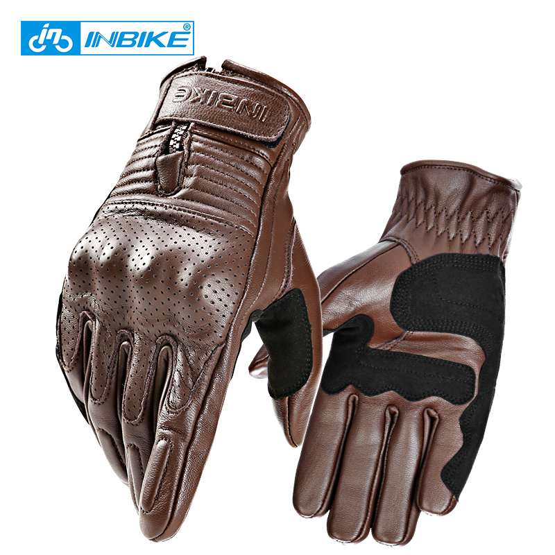 INBIKE Genuine Leather Motorcycle Gloves Motocross Gloves Perforated Leather Men Bicycle Motorbike Gloves For Cycling MTB