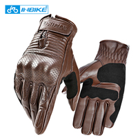 INBIKE Genuine Leather Motorcycle Gloves Motocross Gloves Perforated Leather Men Bicycle Motorbike Gloves For Cycling MTB Bike
