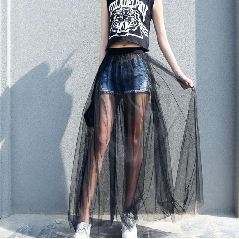 JIEZuoFang Summer Long Lace Skirt Women Black White Mesh Voile Casual Skirts Low Waist Bohemian Sexy Transparent Maxi Wear