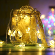 connectable LED String Light Christmas 10m 50LED Crystal Balls Bulb Outdoor Home Strip Lamp Wedding Decoration Waterproof