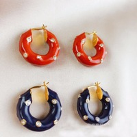 Geometry Rhinestone Cute Ear Cuff barbell French style simple brass HOOP Earing Two Color Women Accessories Kolczyki Kupe Joyas