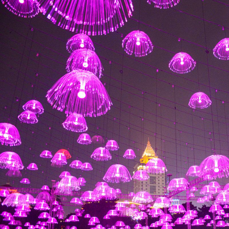 ZINUO LED Jellyfish Night Light Lamp Color Bedside Led Optical Fiber Night Light 220V Novelty Baby Sleep Gift For Kids
