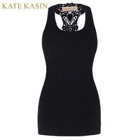 Kate Kasin Summer Style Women Tops Black Round Neck Sleeveless Vintage Racerback Crop Top Fitness Casual