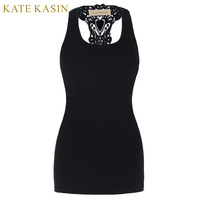 Kate Kasin Summer Style Women Tops Black Round Neck Sleeveless Vintage Racerback Crop Top Fitness Casual