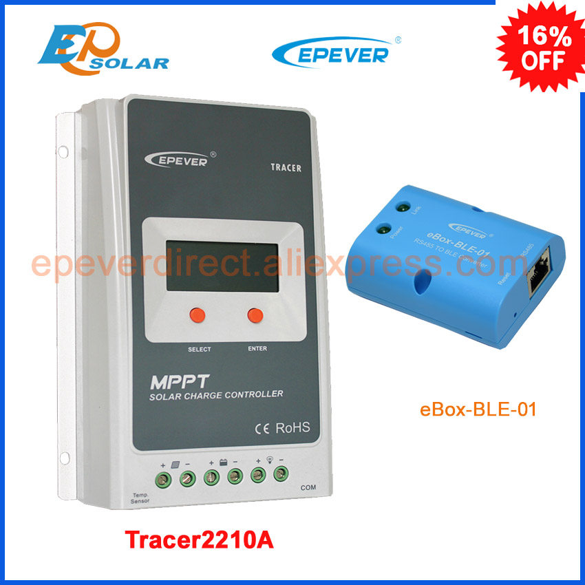 Solar battery charge controller EPSolar 20A 20amp Tracer2210A bluetooth eBOX-BLE-01 Android APP setting EPEVER MPPT epsolar tracer mppt 20a 2215bn solar charge controller solar tracker controller for renewable energy system
