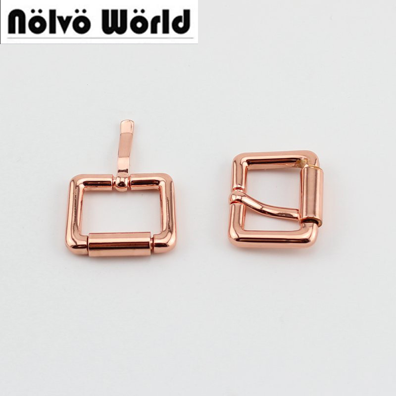 50pcs 20mm Rose Gold Color Turnbuckle Zinc Alloy Square Pin Buckle Bags,rose Gold Belts Buckles
