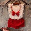 2016 de Moda de Verano Ropa de Las Muchachas del arco collar 2 unids niños niñas pantalones ropa conjuntos 2-6Y kids ropa vest + rojo pantalones cortos
