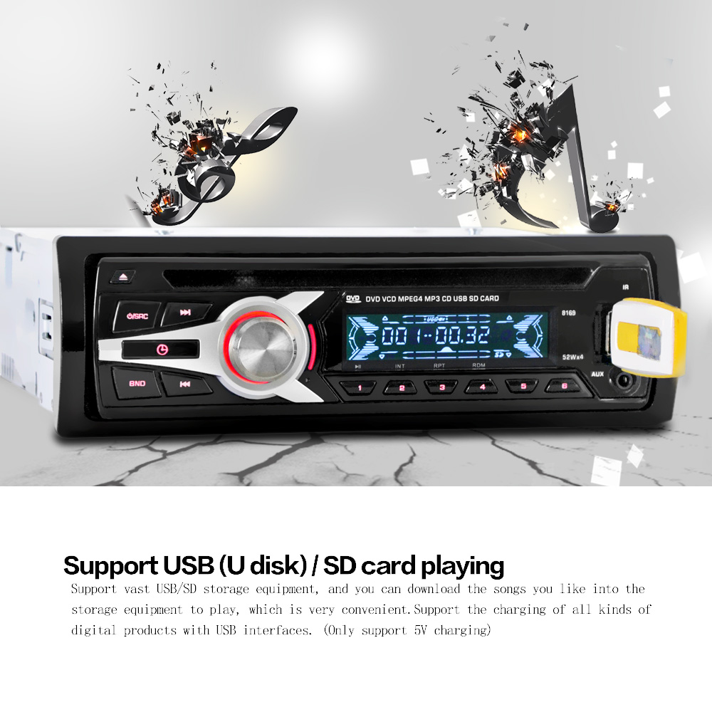 Us stock kkmoon universal car stereo radio audio player cd dvd mp3 player with fm aux