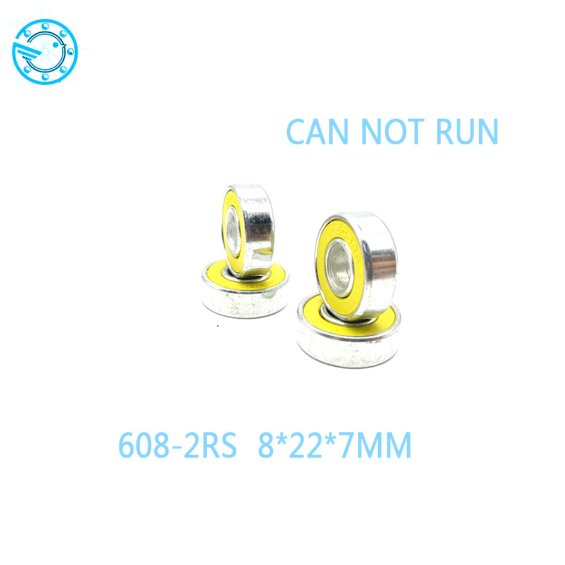 Free shipping 10pcs Skate board bearing 608-2RS 608RS 608 8x22x7mm yellow  rubber closures 8*22*7mm  for hand spinner 2016 new peny board skateboard complete retro girl boy cruiser mini longboard skate fish long board skate wheel pnny board 22