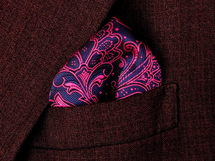 Free Shipping Paisley Blue Pink Rose Red Silk Hanky 100% Mens Jacquard Weave Pocket Square/party hankies/Hankerchiefs