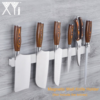 XYj Strong Magnetic Self adhesive Knife Holder Save Space Stainless Steel Block Magnet Knife Holder Rack Stand For Knives