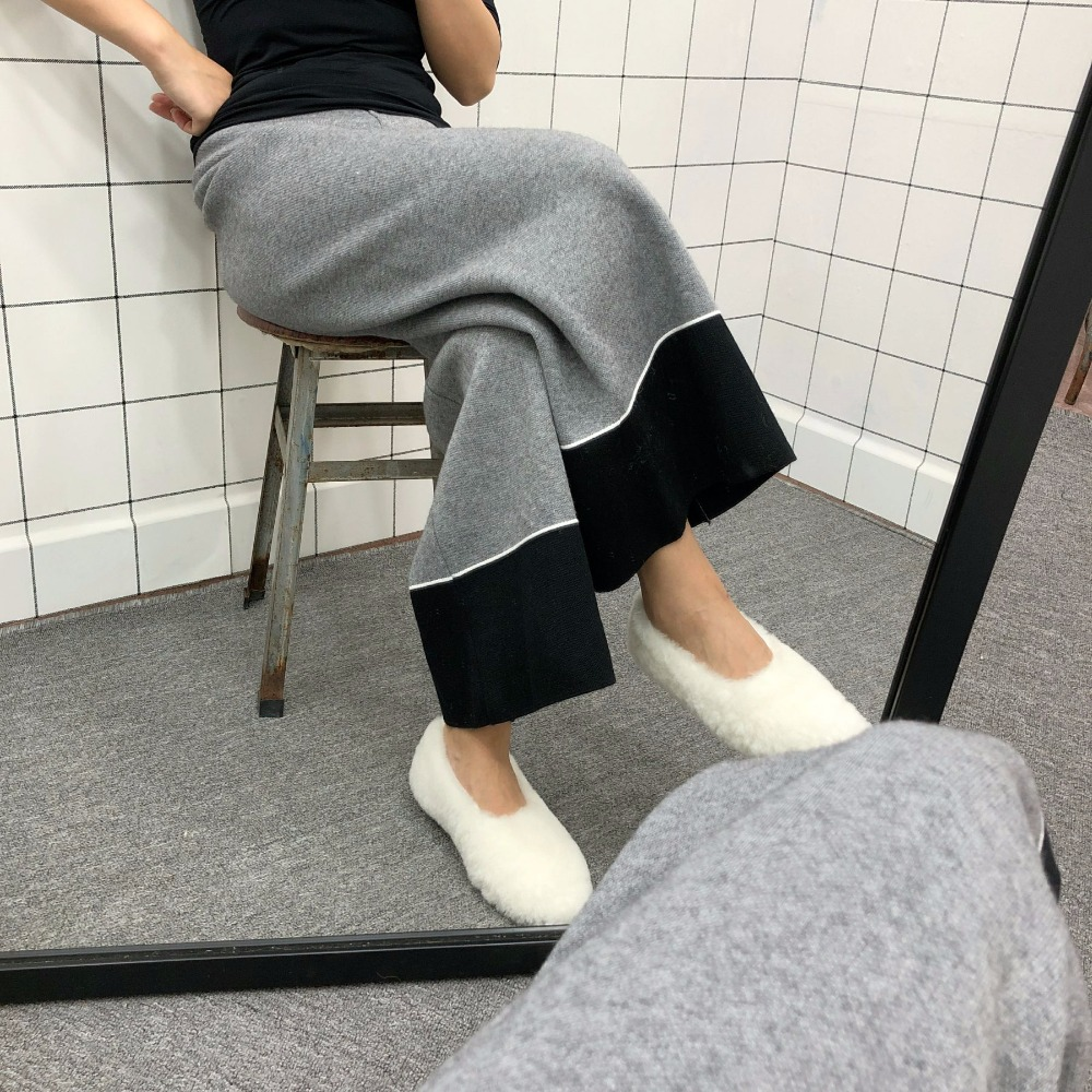 2018 Winter Thick Knitting   Wide     Leg     Pants   Women Full Length Fashion Elastic Patchwork Loose Casual Trousers Warm