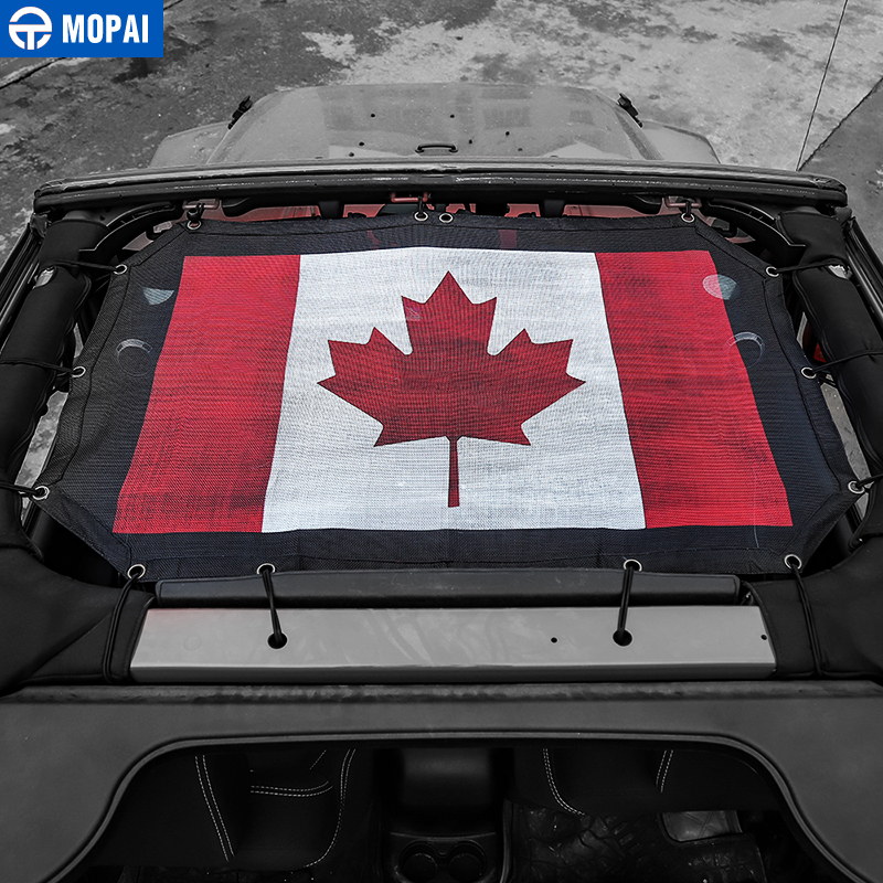 Image 2 - MOPAI 2/4 Door Car Roof Mesh Bikini Top Sunshade Cover UV Sun Shade Mesh for Jeep Wrangler JK 2007 2017 Car Accessories Styling-in Car Covers from Automobiles & Motorcycles