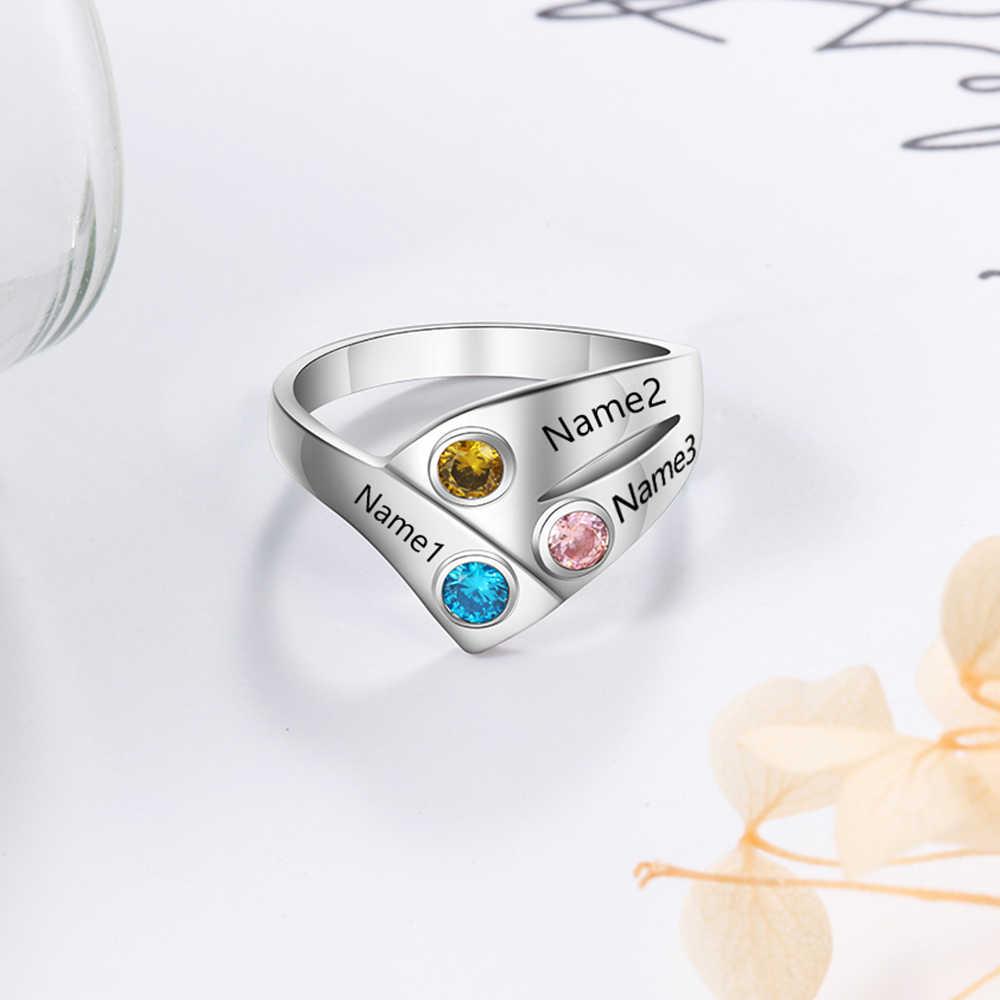 אישית 925 כסף סטרלינג טבעות לנשים מותאם אישית 3 שמות אבן המזל טבעת אמא ילד משפחת מתנה (JewelOra RI103806)