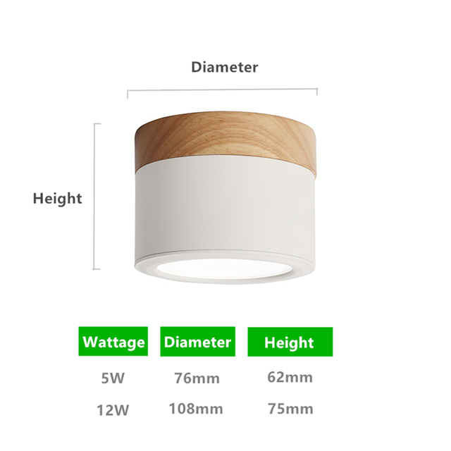[DBF]Macaroon Iron+Wood LED Ceiling Light 5W 12W Surface Mount Ceiling Spot Light for Bar Kitchen 3