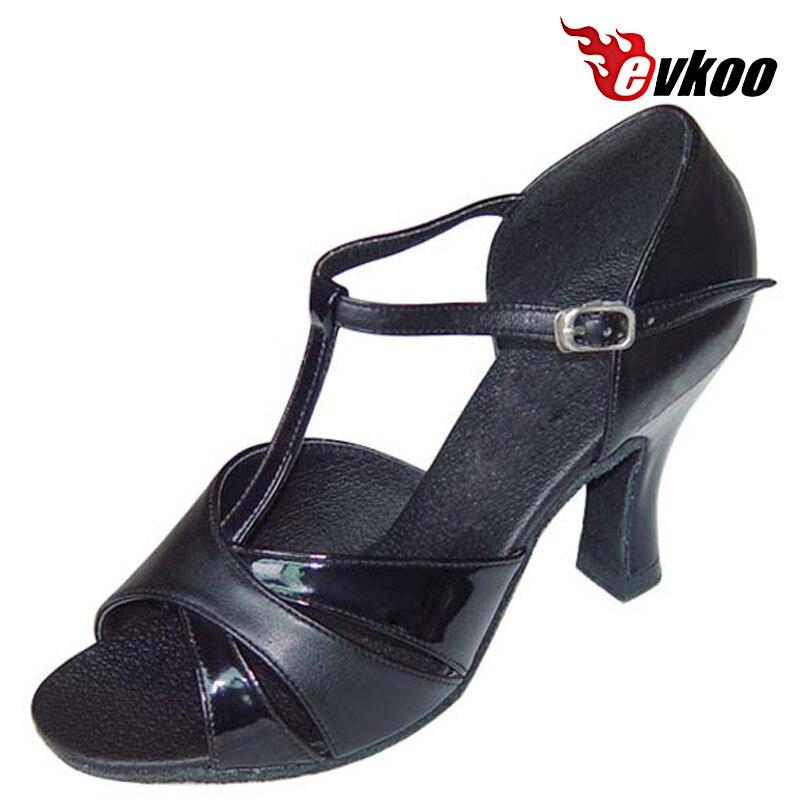 b5910713445d2 Evkoodance Peinture Et Fixe Imiter En Cuir Femme Taille US 4-12 Latine  Chaussures De Danse Noir 7 cm Hauteur du Talon chaussures Evkoo-105