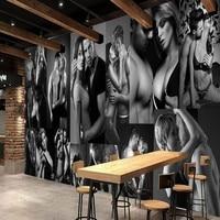 Free Shopping Custom Black White Sexy Men Women Mural Hotel Nightclub KTV Background Wall Bar Decoration