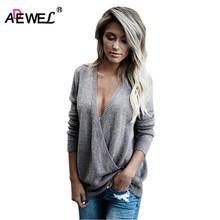ADEWEL New 2019 Autumn Winter Sexy Deep V Neck Women Knitted Sweaters Blouse Ladies Casual Cross Front Loose Basic Sweater Tops new autumn winter sexy midriff baring sweaters loose solid knitted pullovers casual deep v neck sweater knitwear