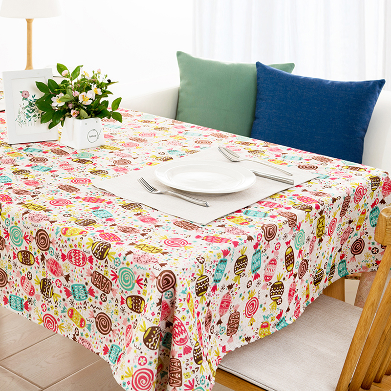 American style Rural Home decor Colorful Geometry Cartoon Linen Table Cloth Dining Tablecloth Coffee Restaurant Cloth Cover