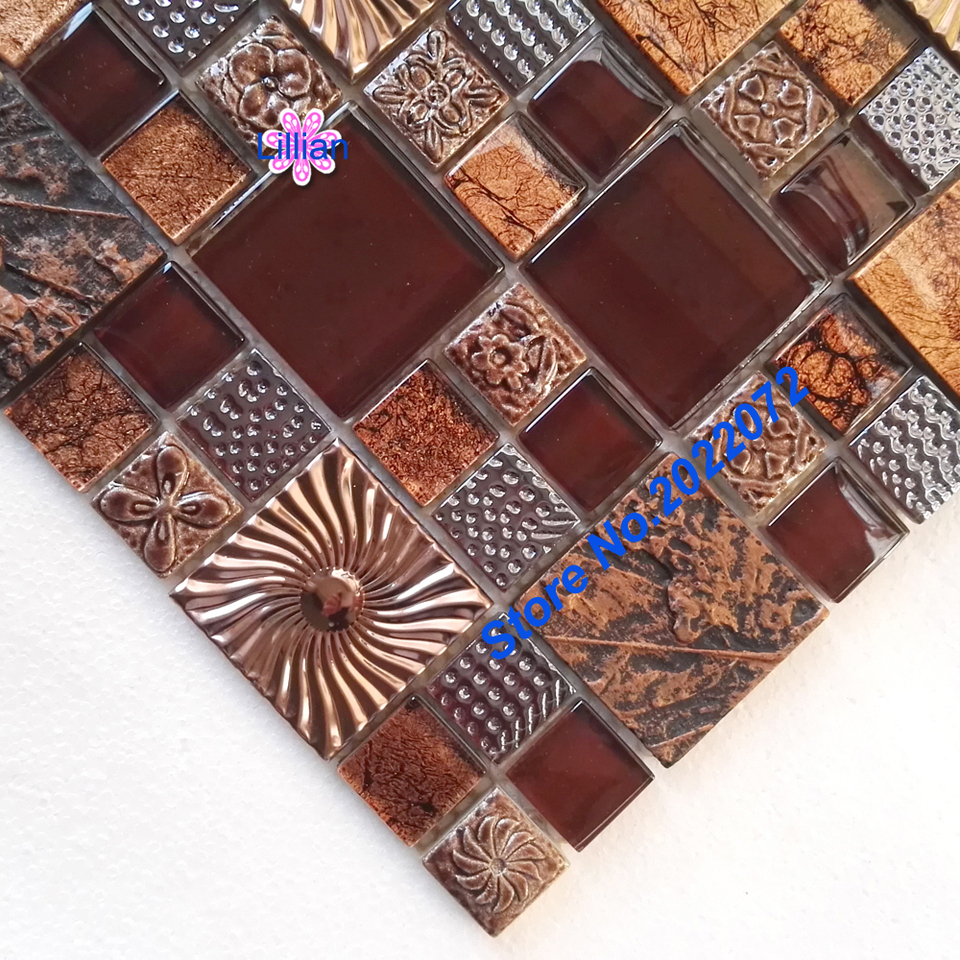 - Glass Mental Tile Brown Southwest Style Stainless Backsplash
