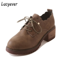 Lucyever Women Leather Thick Heels Shoes Soft Bottom Mother Shoes Woman Comfort Casual Spring Autumn Lace