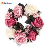 LumiParty Symulacji Kwiatów Wielokolorowe Sztuczne Rose Garland Wieniec Drzwi do Domu Wall Garden Wedding Party Decor 12 Inch-30