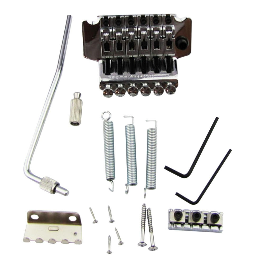 new 1 set chrome electric guitar bridge double tremolo locking system for floyd rose replacement. Black Bedroom Furniture Sets. Home Design Ideas
