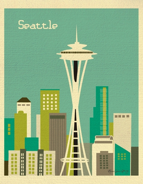 Seattle The SpaceNeedle Room Frame Vintage Kraft Decorative Poster ...