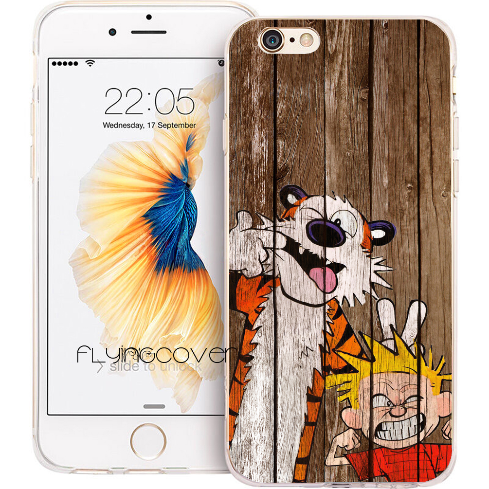 Coque Calvin Wood Print Clear Soft TPU Silicone Phone Cover for iPhone X 7 8 Plus 5S 5 SE 6 6S Plus 4S 4 5C iPod Touch 6 5 Case