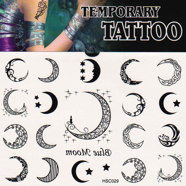 2014 New summer Body art Temporary  transfer tattoos Blue moon Body painting waterproof non-toxic small gift