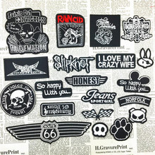 Clothing Badge DIY Patches For Women & Men Clothes Iron on Embroidered Punk Patch Motif Skull, ROUTE66, Car flag, Paw, Alphabet
