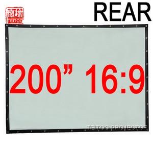 200 дюймов 16:9 задний экран ПВХ настенный имеет черные границы и отверстие легко фиксируется для HD 3D домашнего кинотеатра можно сложить удобн...