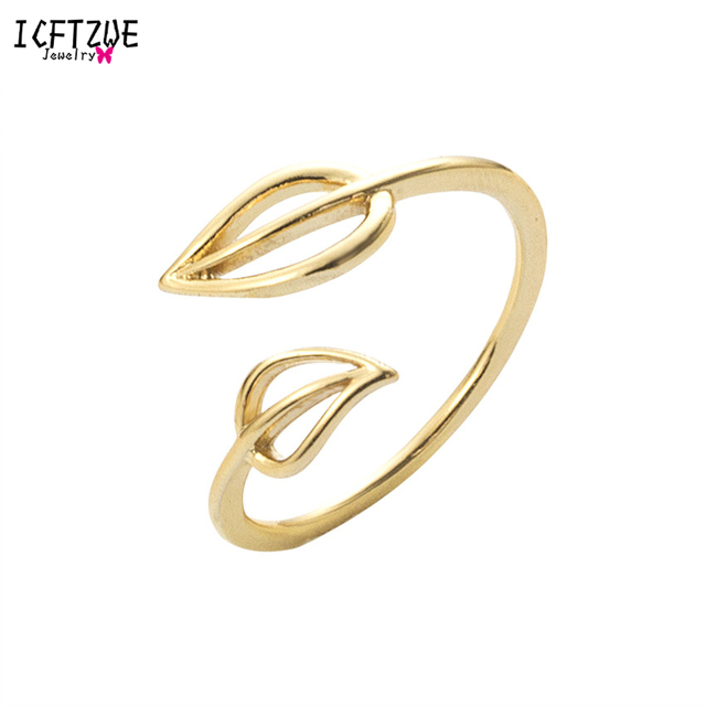 ICFTZWE Gold Silver Toe Ring Bague Femme Anel Simple Anarchy BFF Double Leaf Med