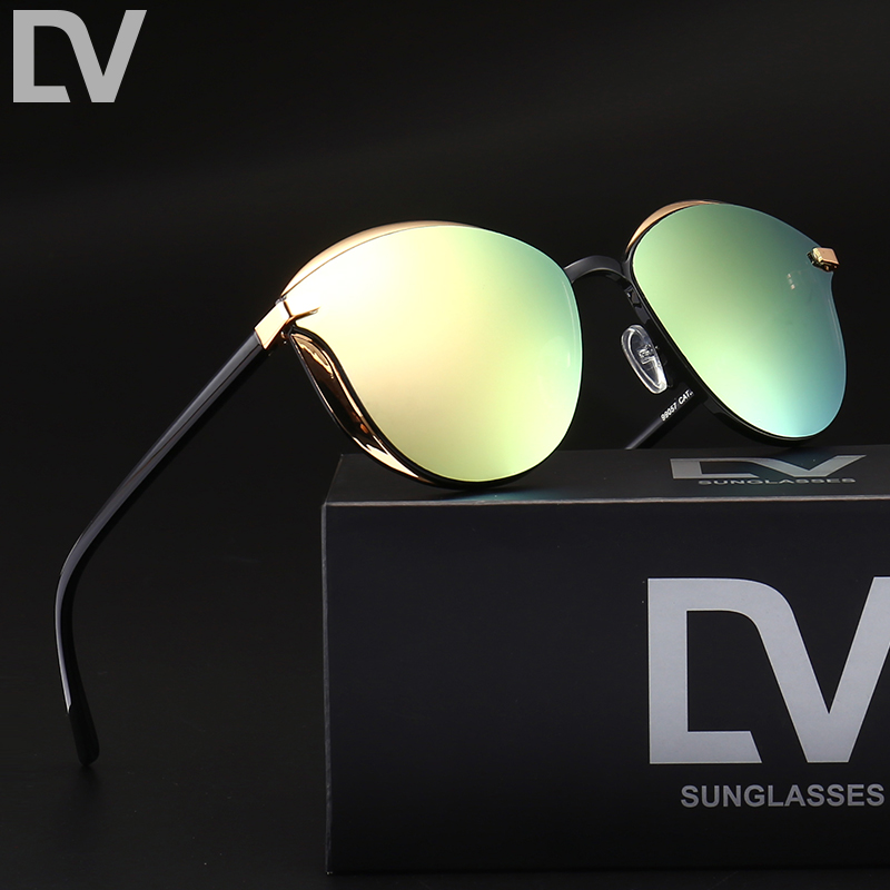 DV Fashion Female Sunglasses Women Cat Eye Glases Ladies Vintage Retro Brand Designer Sun Glasses Mirror With box oculos de sol