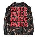Absolutamente Alta Qualidade Real Tag Pablo Kanye West YEEZY Camiseta 1 ª TEMPORADA Justin Bieber Camuflagem Militar Hip Hop Homens T Longo da