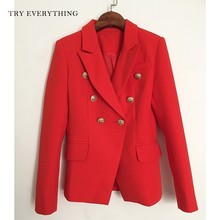 Red Blazer Women Long Sleeve Double Breasted Jackets Blazers Coat Woman Big Size Ladies And