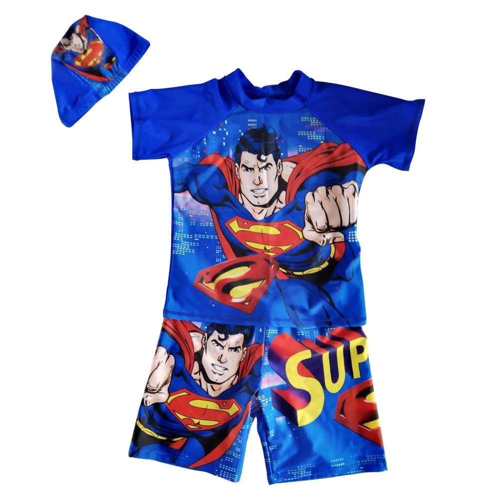 Купальник бикини для мальчиков, Rashguard UPF50 + солнцезащитный костюм с рукавами, комплект купальников, детский купальный костюм с рисунком, купальный костюм с шапкой