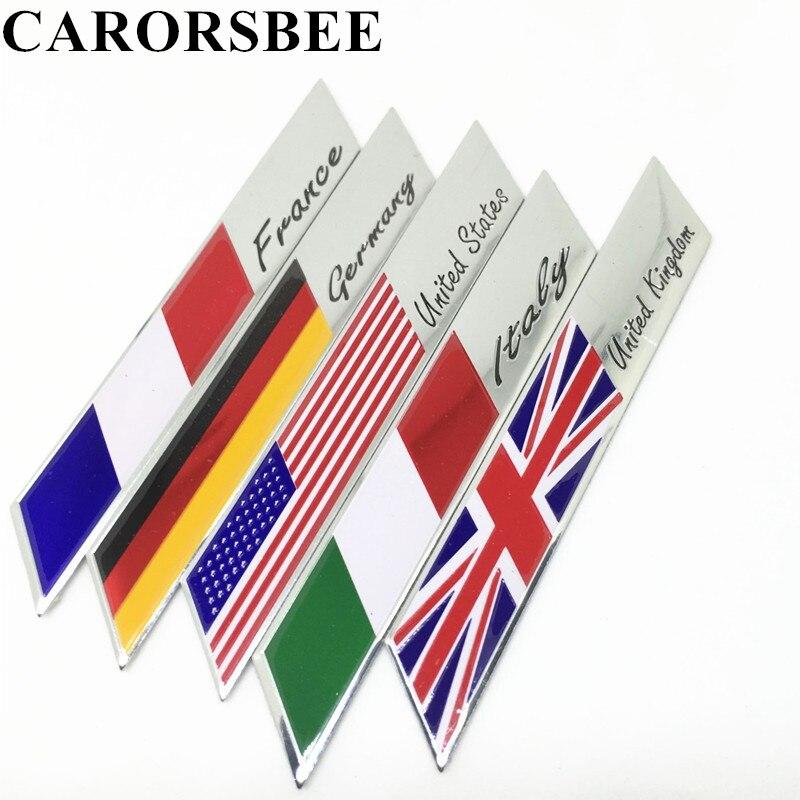 CARORSBEE 3D алюминиевого Франция Германия Великобритания Италия США флаг логотип автомобиля стикер эмблемы значка наклейки боковые наклейки