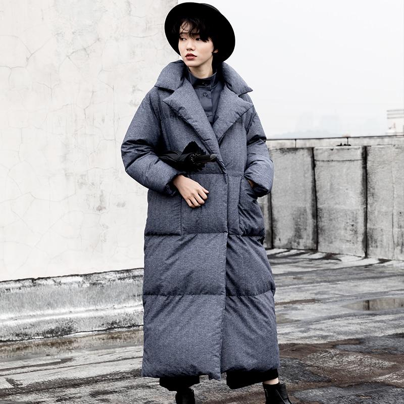 Chaud denim X Blanc 2018 Duvet Canard Et Collection Manteau Blue Black Col Long Entaillé D'hiver Surdimensionné Femmes Veste Épais Nouvelle Gray De qzRXrzwv