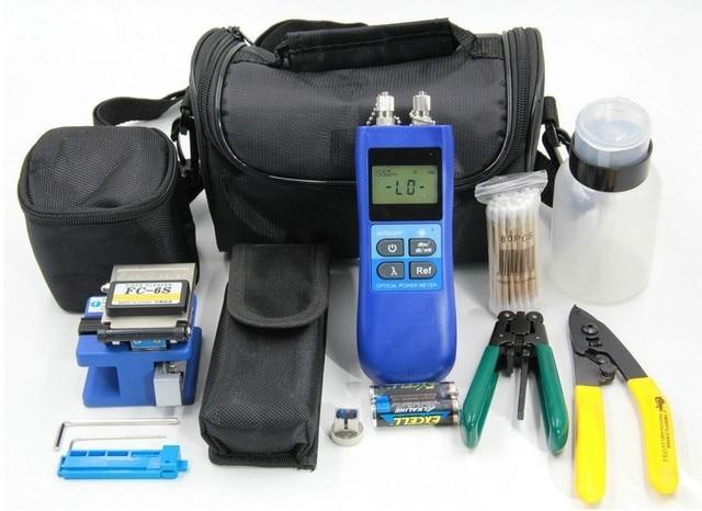 Fiber Optic FTTH Tool Kit with FC-6S Fiber Cleaver and Multimeter(Optical Power Meter Visual Fault Locator 10mw)