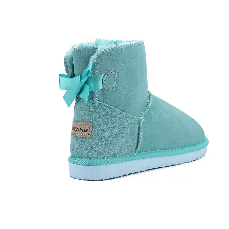 JXANG אופנה טבע אמיתי עור פרווה מרופד בנות קצר קרסול שלג מגפי נשים חורף נעלי דירות גודל 34- 44